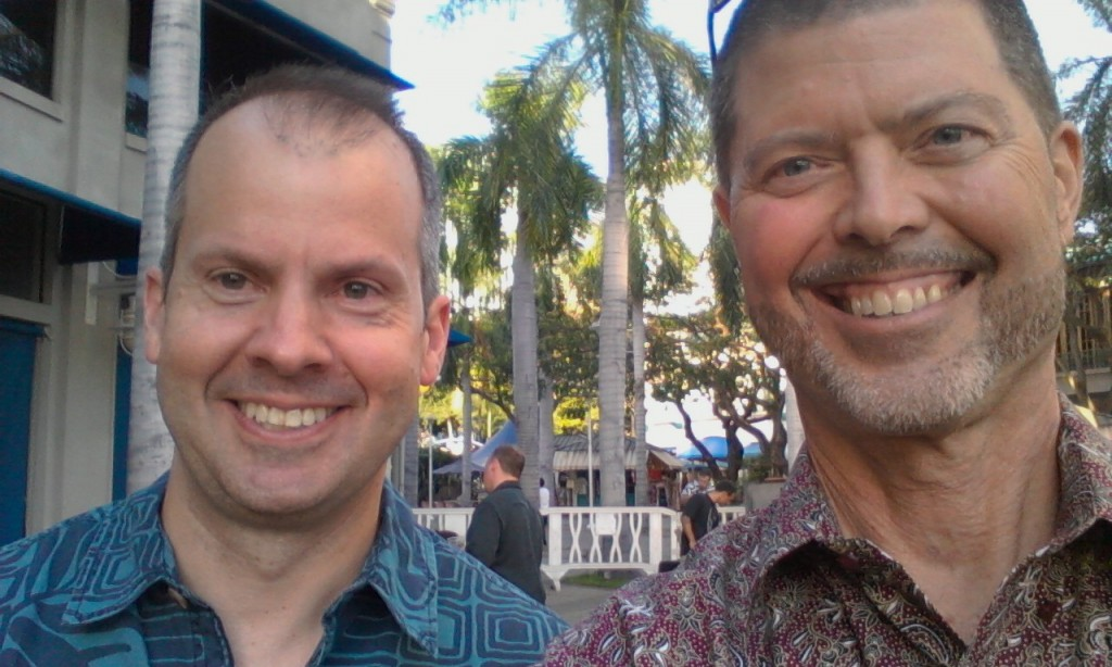Marc Adee and Jim Lindblad at Fairmont event. Aloha Tower, Honolulu